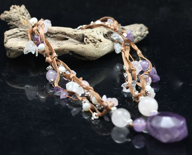 Amethyst on Leather Necklace