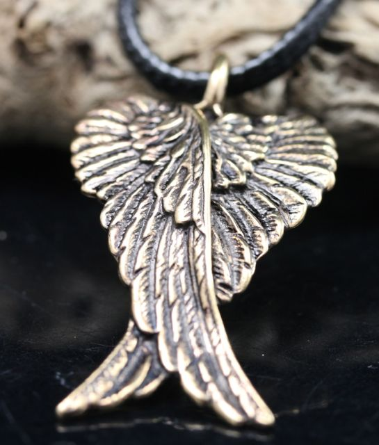 Bronze Crossed Angel Wings Pendant 2