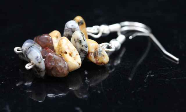 Dendritic Agate Chip Earrings