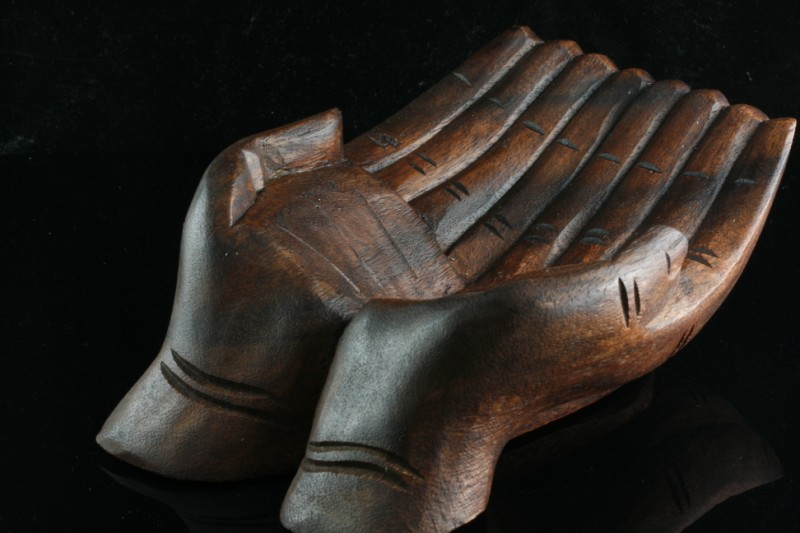 Wood carved hands