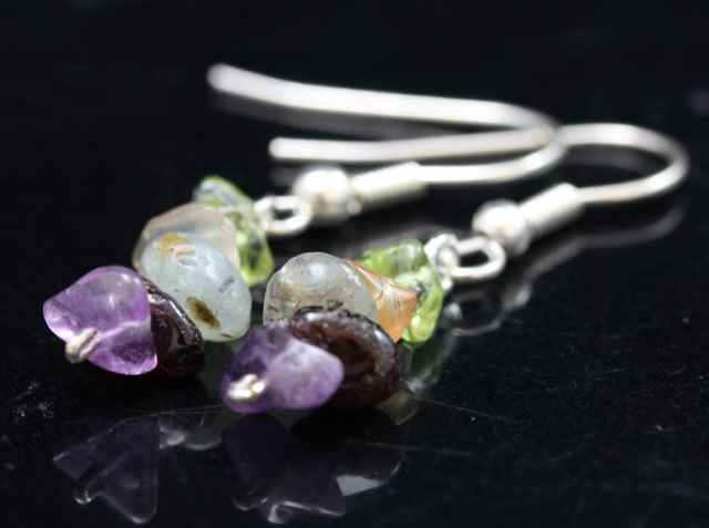 Mixed Gem Chip Earrings