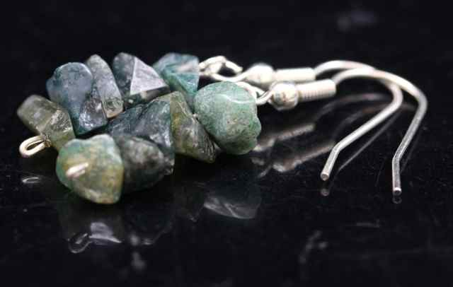 Moss Agate Chip Earrings