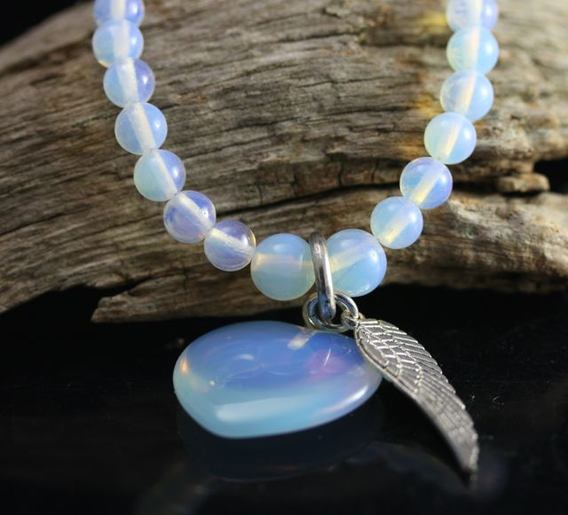 Opalite Forever Love Heart and Feather Pendant