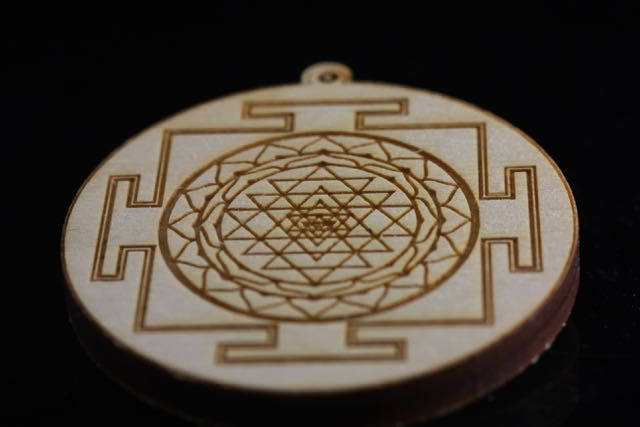 Shree Yantra Disk in Birch Wood (2)