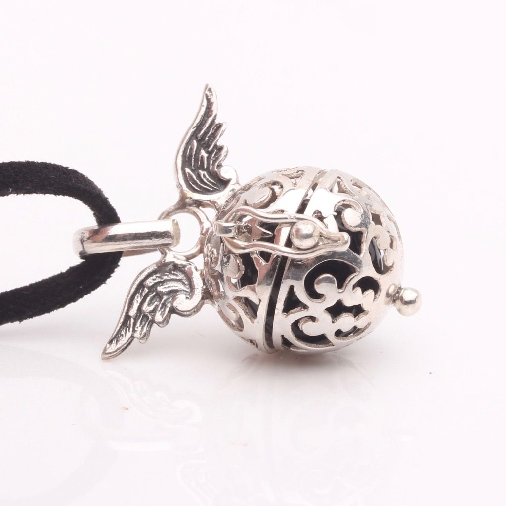 Silver,Black Angel Wing Calling Bell