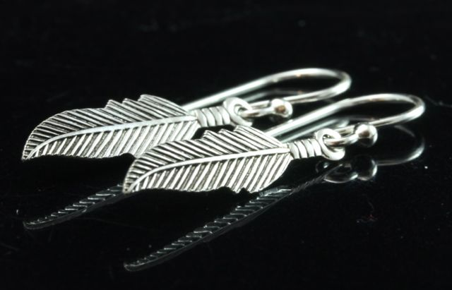 Silver Feather Earrings 1
